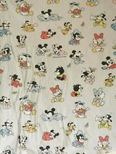Vtg Disney Baby Duvet Cover Light Blue Minnie Mickey Mouse Bedding Sheets Cotton