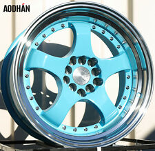 AODHAN AH03 17x9 5x100 / 5x114.3 +25 Blue (PAIR) fitments to work on most cars!