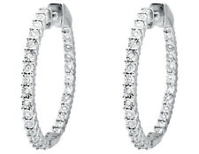 10K White Gold Miracle Set One Row Inside-Out Diamond 1 inch Hoop Earring 1/2ct