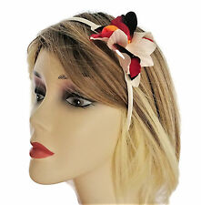 Beautiful Ivory Red Black Orchid Fascinator Flower on a Satin Headband