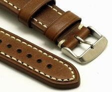 22mm Brown Leather Contrast Stitch Replacement Watch Band - Citizen Eco-Drive 22