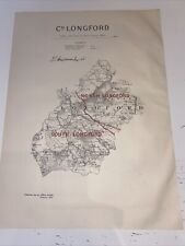 1885 County Longford Ireland Map Ordnance Survey Office Boundary Commissioner