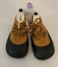 Carters Infant Crib Baby Shoes 6/9 Months Baby Workboots Tan Black NWT