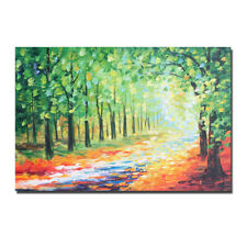 Hand painted Abstract Green tree Oil painting Canvas Wall Art Picture Home Decor