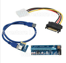 UK PCI-E 1x to 16x USB 3.0 Powered Extender Riser Adapter Card Bitcoin Litecoin