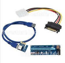 Reino Unido PCI-E 1x a 16x USB 3.0 Powered Extender Riser Tarjeta Adaptadora Bitcoin Litecoin