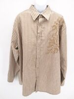 Blueink Mens 3XL Brown Striped Embroidered Design Button Up Long Sleeve Shirt