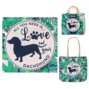 Pair (2) of 'All You Need is Love & Your DACHSHUND' Eco shopper sausage dog BNWT