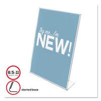 Deflecto Classic Image Slanted Desk Sign Holder Plastic 8 1/2 x 11 Insert Clear