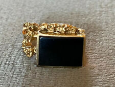 Vintage 10k Yellow Gold Onyx Gold Nugget Style Ring- Size 8