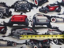 Shadow Rods Coupe Bucket Cars on Natural BY YARDS  Alexander Henry Cotton Fabric