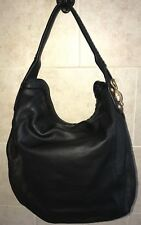 GUCCI Borsa Sunset Black Leather Hobo Bag Cross Body Purse Handbag Gold Logo NEW