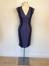 FRENCH CONNECTION PURPLE WITH BLACK PRINT PENCIL DRESS SIZE 10