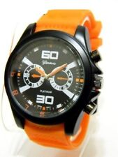 Chunky Black Orange Hip Hop Iced Out Silicone Band Watch Geneva Sport