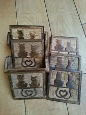 Wooden Coasters Set of 6 with Two Cats Carving
