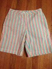Womens Coral Bay Golf striped shorts Size 6 bermuda Flat Front cotton stretch