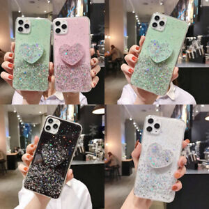 Bling Glitter Sequins w/ Heart Stand Case For iPhone 12 11 Pro Max XS XR 6 7 8