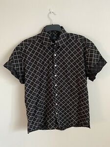 Mens Vintage 90's Black Geometric Short Sleeve Shirt - Large