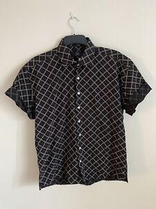 Mens Vintage 90's Black Geometric Short Sleeve Shirt - Large