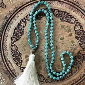 6mm African turquoise 108 Buddha Beads Tassels Necklace Beaded Gift Emotional