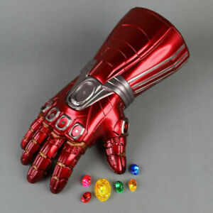 Avengers Endgame Iron Man Cosplay Infinity Gauntlet LED Gloves Stone Removable✅