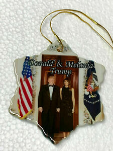 Donald Trump & First Lady Melania White House Porcelain Christmas Ornament New