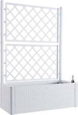 Fioriera rattan bianco con spalliera lt 90 cm 100x43 h/cm 142 riserva d' acqua