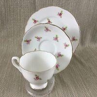 Vintage Tazza da Tè e Piattino Trio Piccolo Rose Chintz Delicato Porcellana