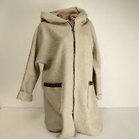 Damen Mantel Boucle Jacke Wolle Oversize Kapuze Cardigan Longjacke beige 38-44