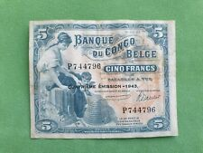 Banknote from Belgian Congo 5 francs 1943