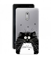 Coque NOKIA 3 Chat coeur love noir blanc moustache transparent