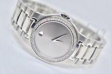 NEW Men's Movado Meza st.steel 0.80ct.apx.custom set real diamond Watch 0604833
