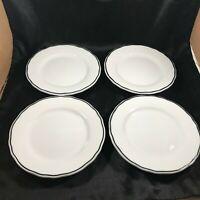 """Set of 4 Vintage REGO Restaurant Ware Scalloped Black Line 7-5/16"""" Plates"""