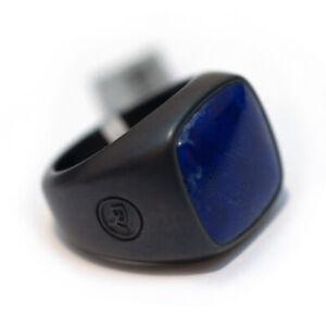 New DAVID YURMAN Men's 18mm Cushion Signet Ring Lapis and Black Titanium Size 10