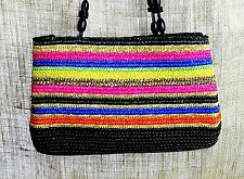 COLORFUL STRIPED  STRAW Shoulder Bag Purse Tote Leather Straps Excellent Cond.