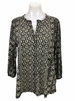Lucky Brand Black White Floral Button Down 3/4 Sleeve Top Blouse Women's Size M