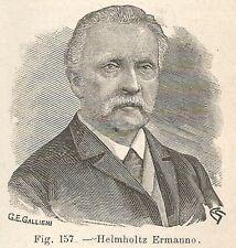 B2214 Hermann Ludwig Ferdinand von Helmholtz - Incisione antica 1927 - Engraving