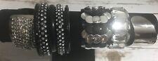 Black Silver Bracelets 9 Lot Bangle Cuff Metal Plastic Rhinestone Vintage Now