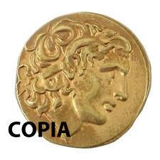 Riproduzione COPIA moneta antica color ORO imperatore ALESSANDRO MAGNO 2 cm
