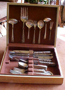 REPOUSSE 30pc SET INTERNATIONAL RADIANT ROSE STERLING SILVERWARE SERVICE FOR 5