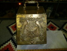 Antique Embossed Brass Coal Wood Box --VERY OLD PIECE--BEEN POLISHED HEAVILY