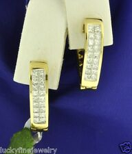 18k Solid Yellow Gold Heart ladies 1.25 ct Diamond Earring Huggie Princess cut