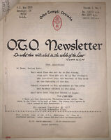 OTO NEWSLETTER, VOL 1, NO 1, ORDO TEMPLI ORIENTIS, CROWLEY, THELEMA, OCCULT