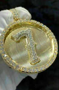 3Ct Round Cut VVS1/D Diamond Men's 7 Lucky Number Pendant 14K Yellow Gold Finish