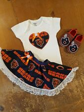 Chicago Bears Baby Girl 3 Piece Tailgating Outfit Girl 0-3  Months Skirt Bears