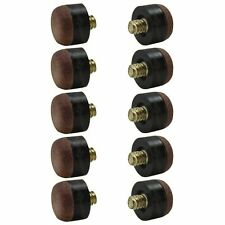 10 Pack of 12mm Brown Screw-On Tips for Pool Cues - Hard