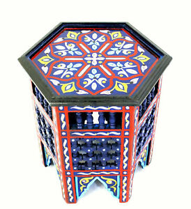 Moroccan Side Table Moucharabi Navy Blue Corner End Accent Piece Handmade Decor