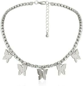 woman's Necklace Silver Crystal Rhinestone Butterfly Pendant Clavicle Choker UK