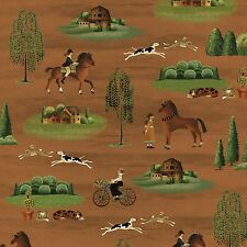 Fabric English Countryside on Brown Cotton by the 1/4 yard