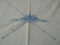 Vintage Damask Tablecloth Blue Flowers on Off White Ivory Linen Antique 72x 68""